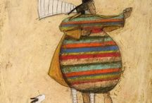 """Sam Toft - The Mustard's / Sam Toft is a British artist. """"Mr. Ernest Hemmingway  Mustard roams the Brighton Hove border with his dear lady wife, Violet, and Doris, a Jack Terrier""""  / by Lynne Radicke"""