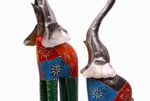 Set of 2 Elongated Trunk Elephants : Height 21 Inch and 17 Inch