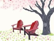 Comfort & Safety - Trees / Rebekka Seale was commissioned to produce a series of hand-painted illustrations for the website http://www.Homecare.com. Homecare.com is an eldercare website that was created to help families take care of their aging loved ones.  The charming gouache and watercolor illustrations help viewers navigate the site and provide warmth and color.  / by Homecare.com