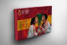 Sarıyla Kırmızı Kanvas Tablo Koleksiyonu / Galatasaray Kanvas Tablo