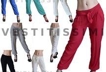 Pantaloni pantalone donna vita bassa harem tasche fiocco sexy trasparente P15