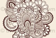 doodle library / doodling, flowers, henna tattoo, zentangle