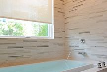 "Westchester Contemporary Master bathroom / Clean lines, contemporary feel without being ""cold""."