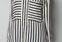 Black Beige Vertical Stripe Pockets Chiffon Blouse