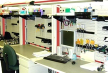 Industrial Tool Board / Wall Control pegboard tool boards in use in industrial and commercial environments