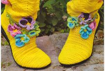 Crochet and knitted shoes