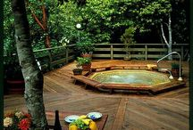 Garden Spa / Spa in the garden with plants, deck snd tub. Relax and unwind.