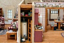 Quarter Scale Dollhouse Miniature - Dutch Colonial / The Dutch Colonial House is a quarter scale, fully furnished. Colonial styled home.