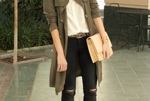 Green trench coat outfit