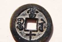 Close-ups:  Qing Provincial Coins / This board shows close-up photos of a 44 Xiang Feng and Tong Zhi era Provincial coins currently in inventory, including denominations of 5, 10, 40 and 50 cash.   / by Danny