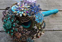 Brooch bouquets - peacock