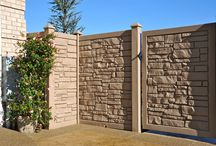 Simtek Stone and Wood look fence. / SimTek Fence has reinvented fence manufacturing with its patented design of rotationally-molded fencing resulting in realistic stone and wood appearance and superior performance.