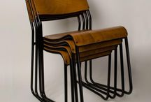 Stacking Furniture / Trainspotters.co.uk - Industrial Stacking Bar Stools & Chairs. Steel frames, Plywood seats.