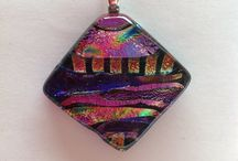 Fused dichroic glass pendants and necklaces / Fused dichroic glass pendants (necklaces) made from art glass and dichroic glass