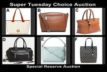 Super Tuesday Designer Choice Auction Aug 19 / Choice Auction for Designer Fashion Handbags from Kate Spade, Rebecca Minkoff, Dooney & Bourke and Michael Kors tonight 10 PM at OneCentChic.com