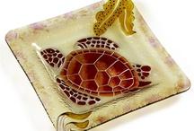 "Sea Turtle World / 12""x12"" Beautiful Hand Painted Sea Turtle Fused Glass Plate  $39.95/pc"