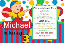 Caillou Birthday Invitations and party supplies / Caillou Birthday Invitations, Caillou, Caillou party, Caillou birthday decorations, caillou birthday supplies, caillou birthday gift tags, caillou birthday thank you card, caillou birthday water bottle labels, caillou candy bar wrappers
