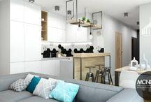 Mieszkanie w nowoczesnym klimacie z elementami stylu skandynawskiego / Dziś prezentujemy mieszkanie, które stanowi połączenie stylu nowoczesnego i skandynawskiego. Jasne, rozświetlone wnętrza, minimalizm formy, stonowane barwy wzbogacone pastelowymi odcieniami dodatków oraz charakterystyczna w aranżacji cegła to elementy nawiązujące do skandynawskiego klimatu.  Po więcej inspiracji zapraszamy na Naszą stronę internetową:biuro@monostudio.pl oraz na Facebooka