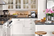 Kitchen interior design / Inspiration for my perfect kitchen. Centre isles, grey theme, Belfast sinks, great gadgets.