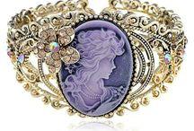 VINTAGE BRACELET / Cameo Lady Amber Crystal Rhinestone Vintage Inspired Brass Cuff Bangle Bracelet