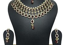Exclusive Indian Wedding Party Wear Kundan Jewelry Necklace Set