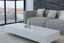 White Side Table Wooden High Gloss Modern Coffee Tea Living Room Home Furniture