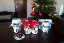 christmas cookie jars / crochet jar toppers