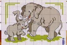Cross stitch - elephants