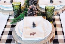 Black and white christmas table