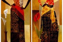 African Paintings / Beautiful African painting of African life, wildlife, men, women and landscape.