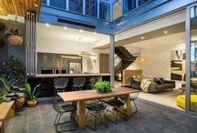 Indoor outdoor room / Alfresco dining room, glass folding doors