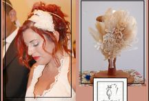 Maria wears a bridal headpiece with feathers and flower lace mounted on headband
