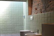 bricks in bathroom
