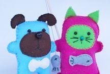 Filtisar/ Felties / Cute small handsewn felties, Små söta handsydda filtfigurer.