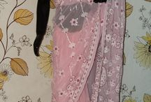 Chikankari Sarees / Lucknow Chikankari sarees in pastel shades with beautiful all over embroidery.