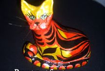 Папье-маше и резьба по дереву / Фигурки кошек