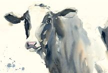 Highland cow and fresian cow paintings farm art / Highland cow and fresian cow original paintings and prints