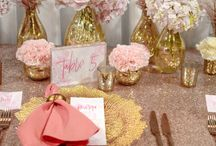 Rose Gold + Blush Wedding / Styled in soft blushed hues, beautiful floral arrangements which were delicately placed within elegant gold mercury teardrop vases. Complimented by gold mercury tea lights and wedding stationery in clean pastel and deep pink hues. Gold Flora charger plates with dusty pink napkins held by gold napkin rings, atop of shimmering rose gold sequin tablecloths + matte copper cutlery, finished with elegant gold tiffany chairs. Youtube:http://www.enchantedempire.com.au/rose-gold-and-blush-pink-wedding/