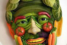 escultura com vegetais