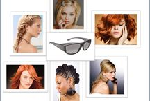 Hair & Solar Shield / Big hair, straight hair, bad hair days, fancy hair does - we are obsessed with hair. And while few things frame your face as well as great hair, Solar Shield 'fits over' sunglasses come close...and they are good for your eyes. www.solarshield.com