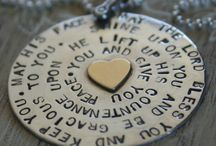 Pennies of Inspiration / Exclusive, hand stamped pendant with blessing from The Bible stamped onto it.