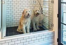 Pet Washing Stations - Indoors & Outdoors / If you've ever tried to wash your pet in the bathtub or with a garden hose you know it's not much fun -- for you or them. There are a number of solutions that will keep BOTH of you much happier. Let's start with these 'energy-saving' options...