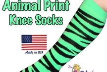 Neon Green Knee Socks / Neon Green Socks in argyle, animal print, zebra, tube, solid, striped, black, white at cheap prices