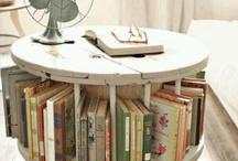 Mesa rollo madera reciclada