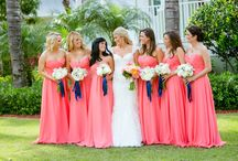 coral navy blue wedding