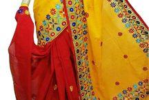 Kachi stich work on Bengal Tant Saree / Vibrant collection of Kachi stich worked Bengal Tant Sarees at www.jagoeve.com