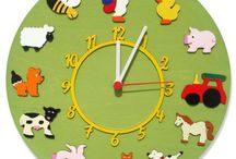 Round Clocks / All of the clocks you see on this board have been handmade by ourselves. They are all made of layers of wood, and have been hand-painted or stained. Each clock has a silent sweeping system, so it doesn't keep your child awake at night! And best of all, they can all be personalised with your child's name for FREE! Just click on the link in the description to purchase one!