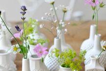 Flowers with Milk Glass