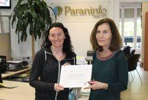 Concurso de escritura en español. Ganadora: Shirley Woods. / Shirley Woods ganó el concurso de escitura en español en abril de 2014. Recogida de premios con compañeros, profesoras y la directora Dominique.