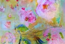 Abstract Painted Flowers